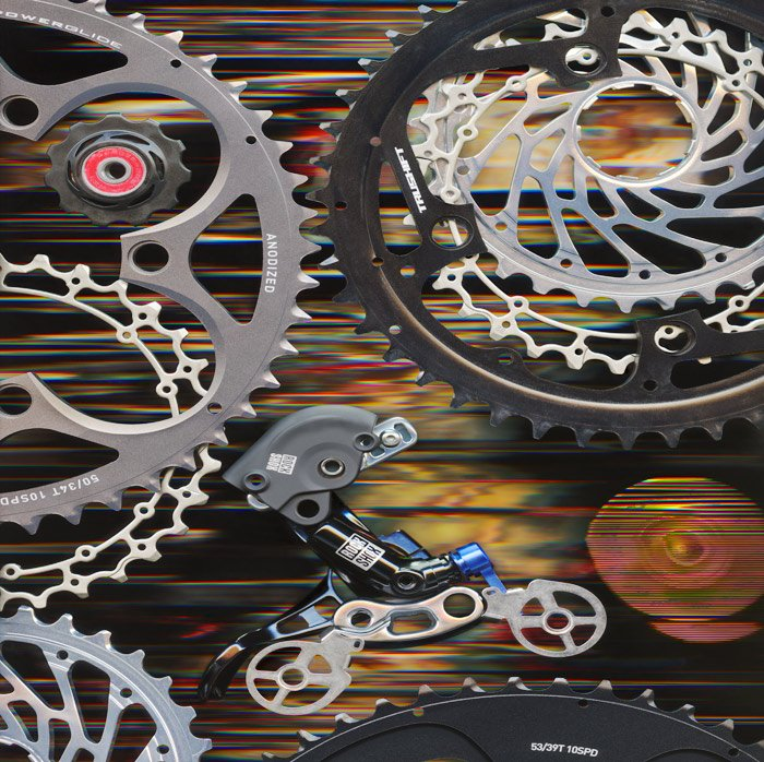 """A scanography piece using 100 bicycle parts titled """"Rock Shox Rider"""""""