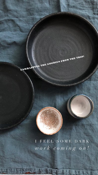 Still life social media photography of bowls on a blue tablecloth - best instagram camera