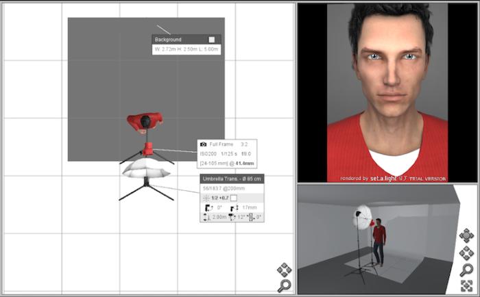 The virtual studio setup creating with set.a.light 3D STUDIO software. Platon photography.