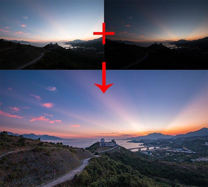 Three landscape photograph diagram for using luminosity masks for digital blending