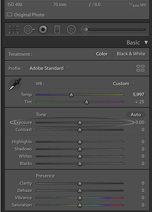 Adjusting the exposure slider in the Basic panel of the Develop module