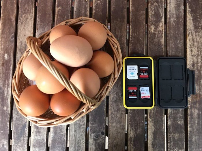 Don't put all of your eggs in the same basket, nor all your SD cards in the same place.