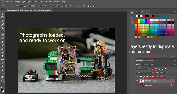 Screeshot of open images for Photoshop compositing