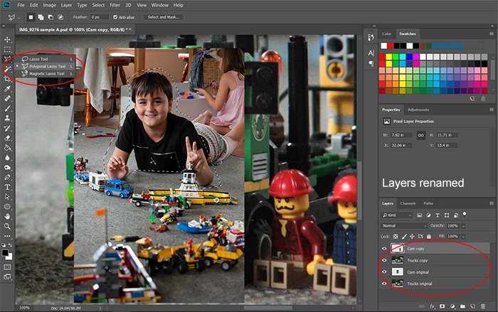 Screeshot of using selection toolfor Photoshop compositing