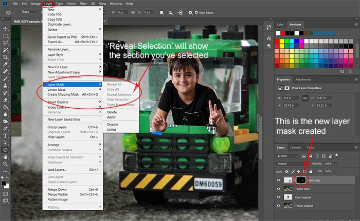 Screeshot opening 'reveal section' for Photoshop compositing
