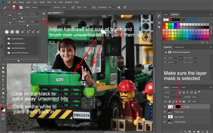 Screeshot of refining the layer mask for Photoshop compositing