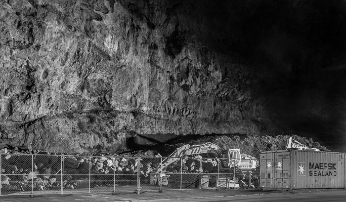 A color street photography shot of Redcliffs, Christchurch, New Zealand at night in black and white.
