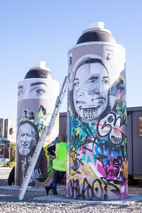 [CROP] Project: New Zealand Intervention, photographic street art. Black and white vs color street photography.