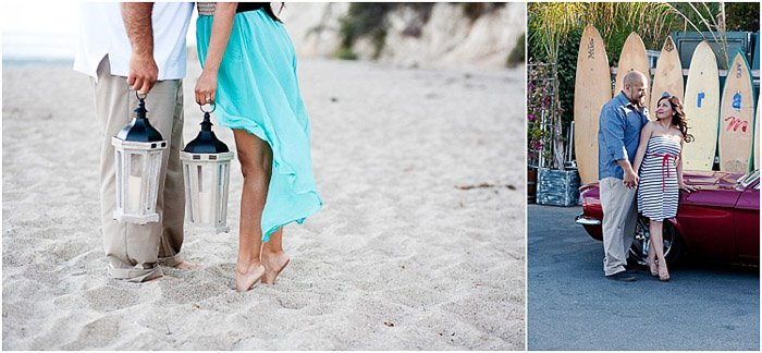 Anengagement photography diptych of a couple standing in a beach area with sand and surf boards