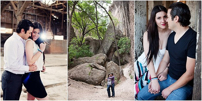 A sweet engagement photography triptych of a couple embracing in a wooded area