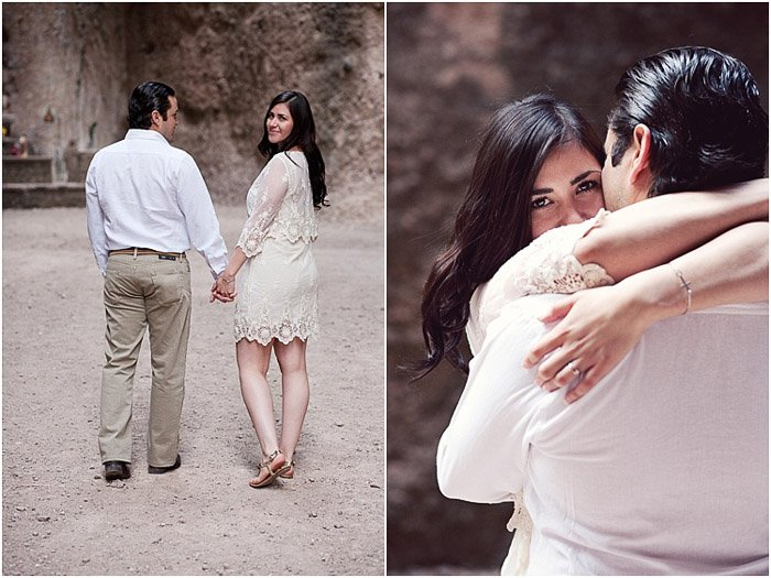 A sweet engagement photography diptych of the couple walking outdoors