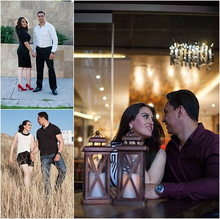 Engagement triptych of a couple standing and sitting together in various locations
