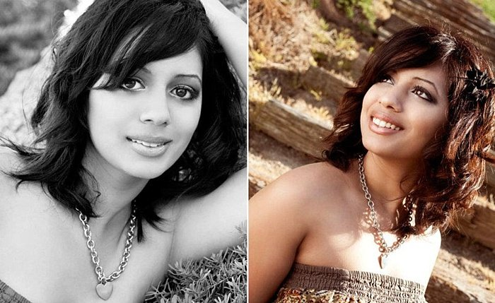 A portrait diptych of a female model showing environmental portrait lighting
