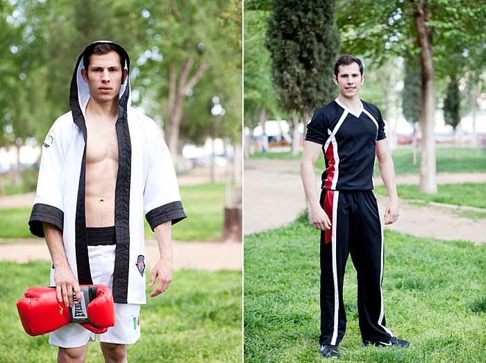 An environmental portrait diptych of a male model posing outdoors showing environmental portrait lighting