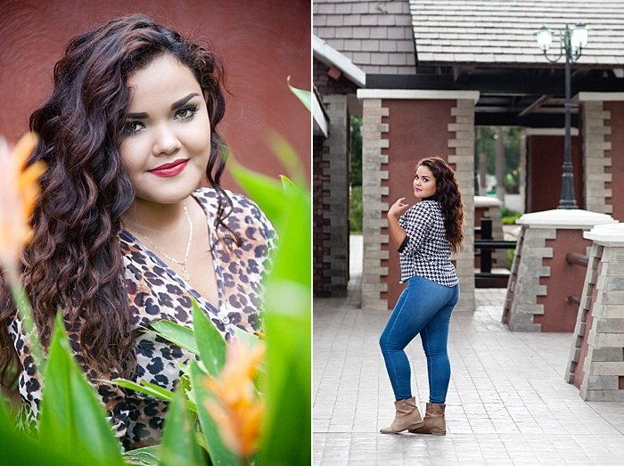 A diptych portrait of a girl in posing outdoors - environmental portrait lighting tips