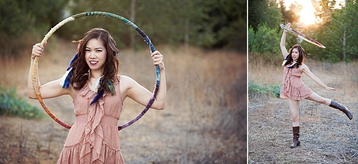 An environment portrait lighting diptych of a girl in pink dress posing outdoors with a hula hoop