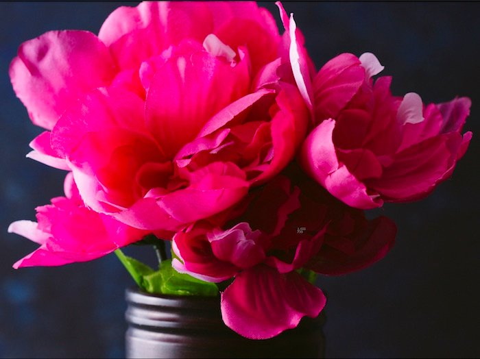 An image of some pink fabric flowers shot with a Canon 100mm macro lens