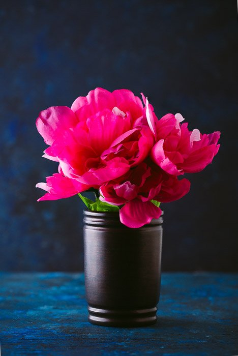 Final image of fabric pink flower still life after using focus stacking.