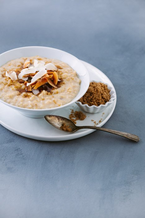 Food photography of toasted coconut and brown sugar oatmeal