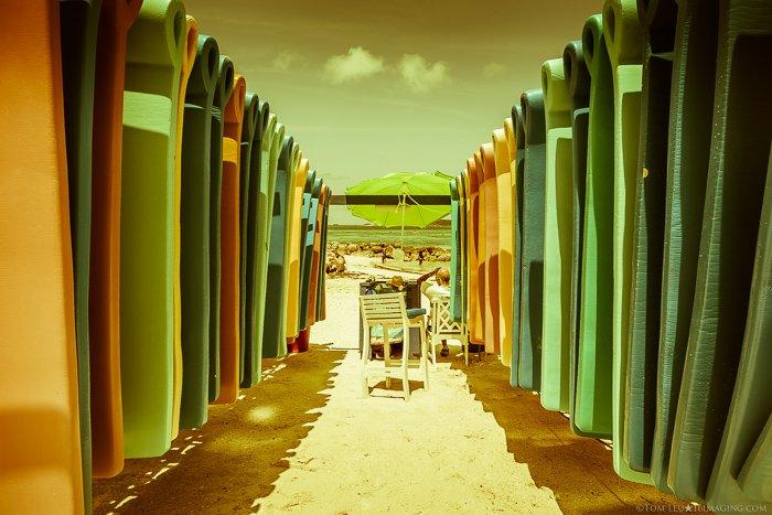 Colourful beach photography shot