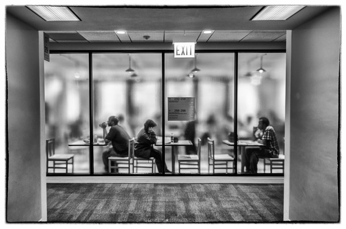 A freelance photography shot of a cafe in black and white