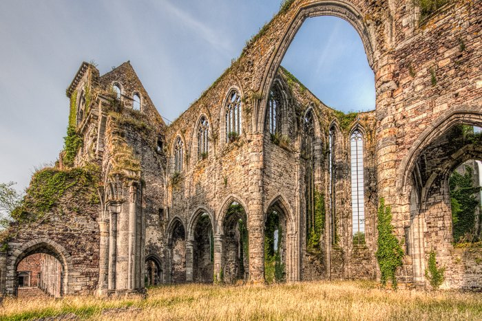 A flat HDR photograph of the ruin of Aulne Abbey