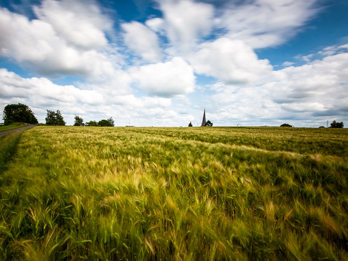 Calm and bright countryside landscape using HDR photography
