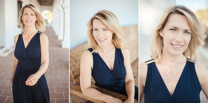 A triptych headshot portrait of a woman with blonde hair