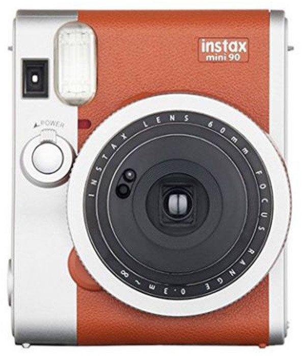 A Fujifilm Instax Mini 90 Neo Classic camera on white background