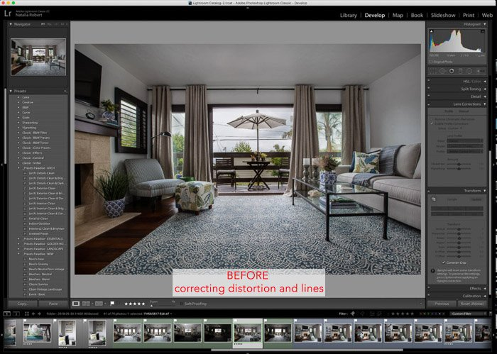 Lightroom interface of interior photography editing - how to edit a photo