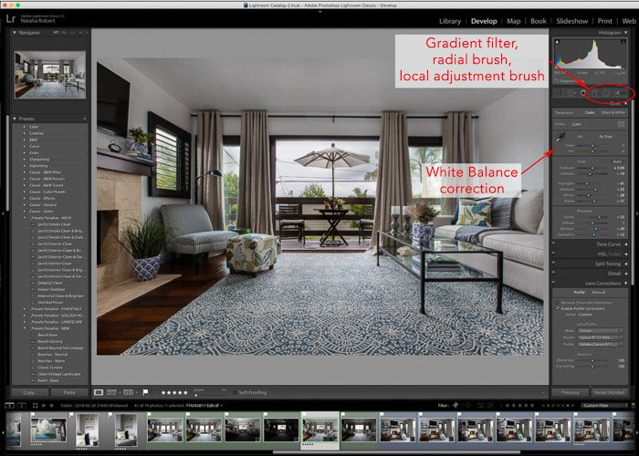 Lightroom interface of interior photography editing techniques