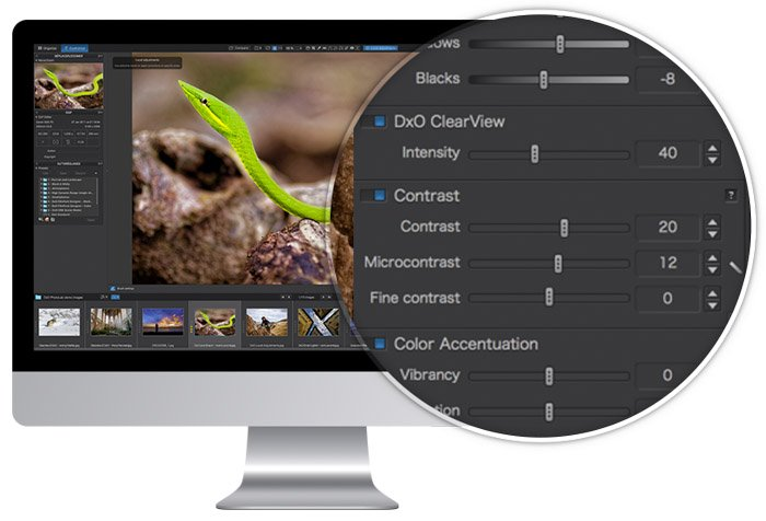 Screenshot of using DxO Photolab photo editing software - Lightroom vs DxO