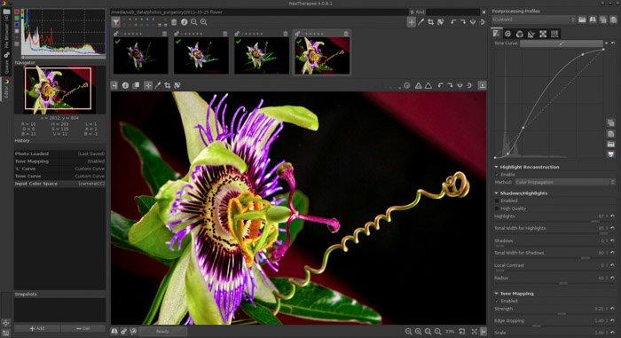 Screenshot of using RawTherapee editing as an alternative to Lightroom