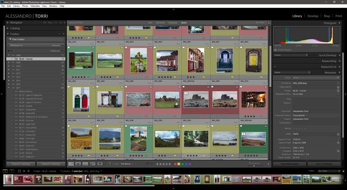 Screenshot of well culled images in Lightroom tips