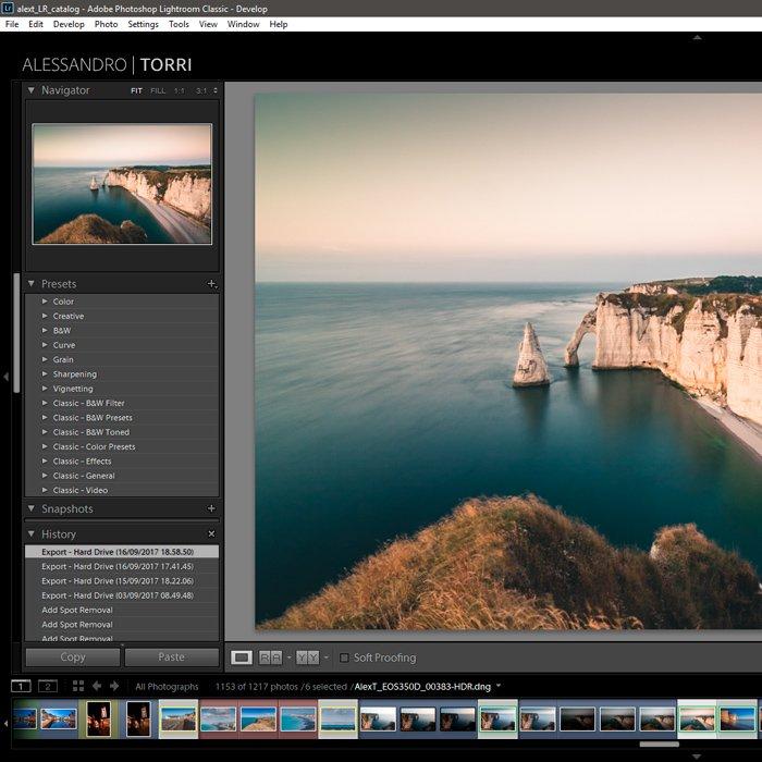 Screenshop of Lightroom default presets