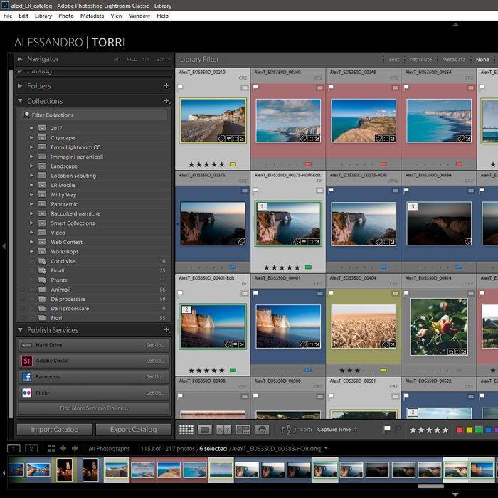 Screenshot of Lightroom default publish services