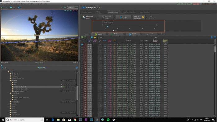 Lightroom screenshot of adding keyframes on LRTimelapse