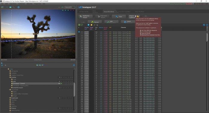Lightroom screenshot of using drag to lightroom button on LRTimelapse
