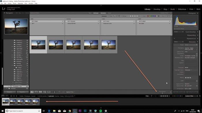 Lightroom screenshot of selecting images on LRTimelapse