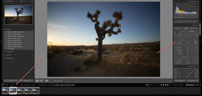 Lightroom screenshot of editing images on LRTimelapse