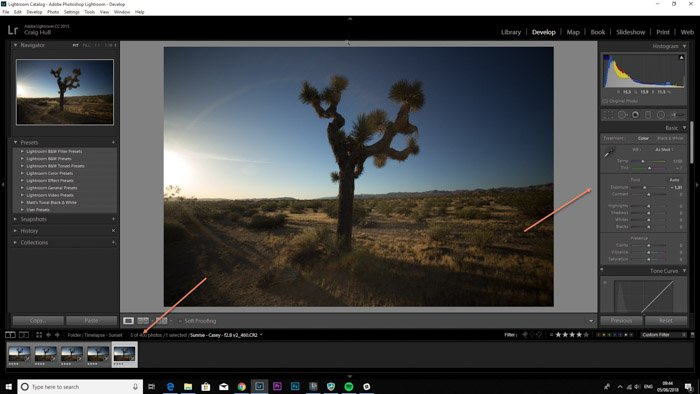 Lightroom screenshot of editing images on LRTimelapse - time lapse maker
