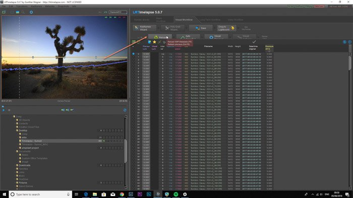 Screenshot of using 'LRTimelapse' time lapse software on Lightroom