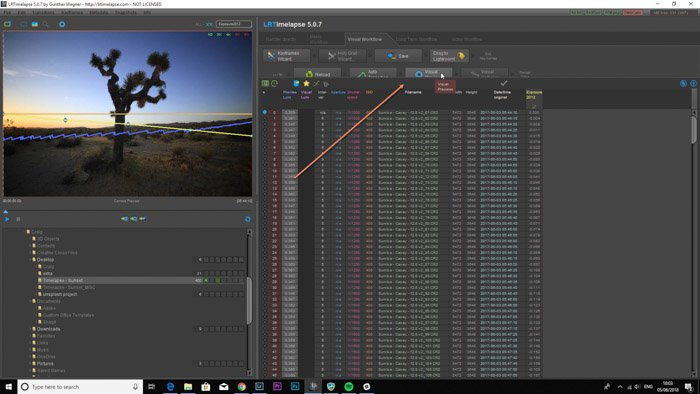Screenshot of using time lapse software to edit pictures on Lightroom