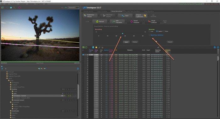 Adobe LR screenshot of LRTimelapse time lapse software