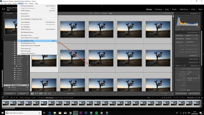 Adobe LR screenshot of opening the library in LRTimelapse time lapse software