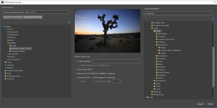 Lightroom screenshot of importing images on LRTimelapse