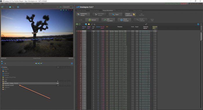 Lightroom screenshot of naming sequence on LRTimelapse