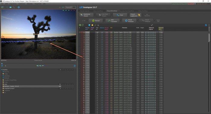 Lightroom screenshot of importing sequence on LRTimelapse