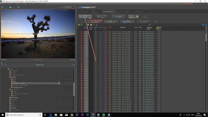 Lightroom screenshot of Keyframes Wizard button on LRTimelapse