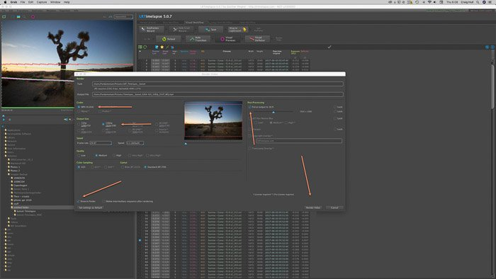 Adobe LR screenshot of rendering in LRTimelapse time lapse software